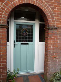 Morton Windows & Conservatories Ltd: door in Duck Egg Blue Arched Front Door, Front Door Porch, Porch Doors, House Front Door, Front Porches, 1930s House Exterior Uk, Composite Front Doors Uk, 1930s Doors, Porch Tile