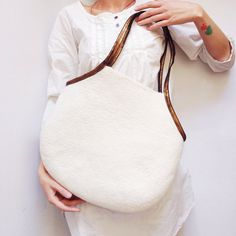 White Shoulder Bag, Hand Felted Bag, Hobo Bag, Handbag, White Wool Tote Bag, Wool And Leather Bag, For Women, Capasious Bag, Zipped Bag