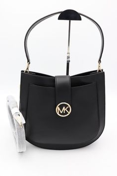 2d7137a76601 New Michael Kors Lupita Messenger Crossbody Leather Bag Purse Tote Black  Gold. Couture Designer Fashions