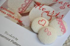 Kit - Vintage Hearts Cross Stitch £9.00 from Peppermint Patterns on Folksy