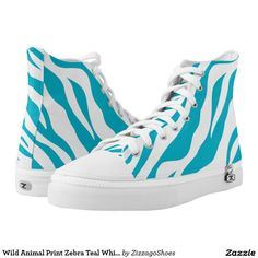 Wild Animal Print Zebra Teal White Stripe Printed Shoes