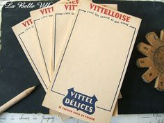 Vintage French waiter order notebook  Small Vittel by LaBelleVille