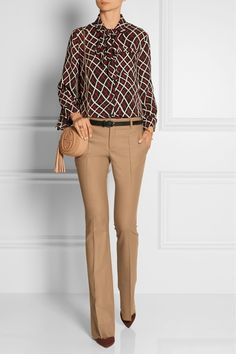 Gucci | Pussy-bow printed silk-crepe blouse | NET-A-PORTER.COM