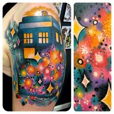 Dr. Who (The Tardis) Tattoo. Wish i knew who did the actual art/ink work because this is Bad Ass!   Photo by dustyneal