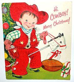 Vintage Christmas Card Cowboy