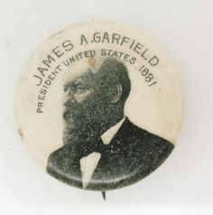 Antique VTG JAMES A GARFIELD PRESIDENT US 1881 WHITEHEAD HOAG Pin Button Pinback