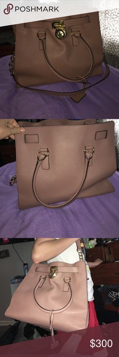 MICHAEL Michael Kors Hamilton  Tote Authentic beautiful dusty rose large Hamilton collection bag, rolled top handles and shoulder strap. In perfect condition I got as a gift and used one time. I'm open to any offers MICHAEL Michael Kors Bags Totes
