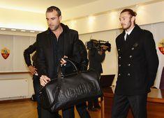 Philipp Plein and Federico Balzaretti attend Philipp Plein and A.S. Roma unveil new team kit at Trigoria on November 8, 2012 in Rome, Italy.