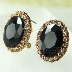 Black Gem Design Full Rhinestone Stud Earrings