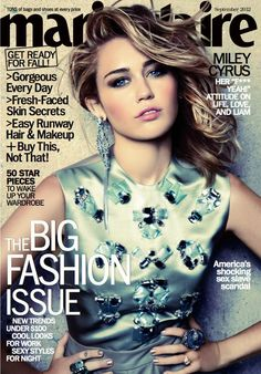 Miley in Christian Dior on the September 2012 cover of Marie Claire