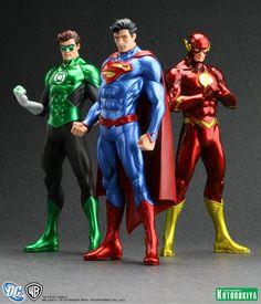 Figuras coleccionables de Flash, Superman y Linterna Verde