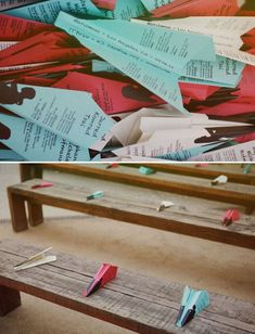 notebook paper airplane exit | school themed wedding