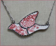 Red Johnson Brothers Transferware Mosaic Bird Broken China Jewelry Pendant Necklace by robinsrelics