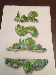 Landscape Architecture Drawing, Landscape Sketch, Landscape Drawings, Landscape Illustration, Landscape Art, Garden Design Plans, Garden Landscape Design, Tree Sketches, Plan Drawing