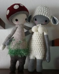 PAUL the toadstool & LUPO the lamb made by Sabine Sch. / crochet patterns by lalylala
