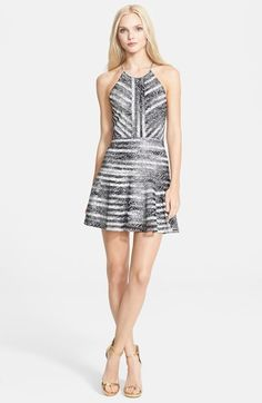 Parker+'Orion'+Print+Mesh+Stripe+Silk+Fit+&+Flare+Dress+available+at+#Nordstrom