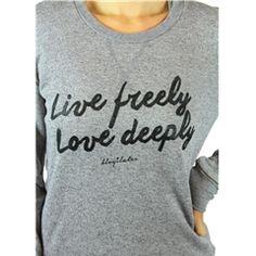 Live Freely Love Deeply Crew Sweatshirt #Blogilates
