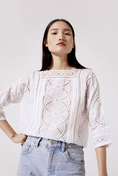 Our timeless embroidered blouse was artisan made. An example of what we call garments with story. Embroidered Blouse, Artisan, Clothes For Women, Lace, Shopping, Tops, Fashion, Craftsman, Outfits For Women