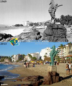 Playa Los Muertos and Las Pilitas, the original Seahorse Statue Photos comparing Puerto Vallarta of the past with the Puerto Vallarta of the present. http://www.puertovallarta.net/gallery/puerto-vallarta-historical-comparisons.php  Fotos que comparan el pasado de la ciudad con el presente. http://www.puertovallarta.net/espanol/galeria/comparaciones-historicas.php  #puertovallarta #vallarta #antesydespues #beforeandafter