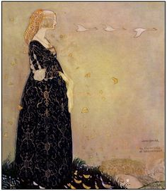 sinisetrunot: Swan Suit by Swedish illustrator John Bauer, from the book Svanhamnen by Helena Nyblom. A princess lost her swan suit - a cloak that transformed her into a swan. She is shown here gazing wistfully at her sisters in the sky. John Bauer, Lisbeth Zwerger, Style International, Art Nouveau, Fairytale Art, Children's Book Illustration, Food Illustrations, Golden Age, Art History