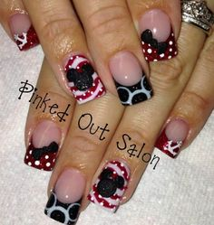 Cute Mickey Mouse nails for a Disney cruise Disney Nail Designs, Cute Nail Designs, Acrylic Nail Designs, Art Designs, Minnie Mouse Nails, Mickey Nails, Fancy Nails, Love Nails, Disney Cruise