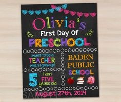 First Day of Preschool Sign First Day of by funnypartyinvitation, $7.99