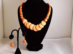 Single Strand Orange Wooden Bead Summer, Beach, Bridesmaid Necklace and Earring Set