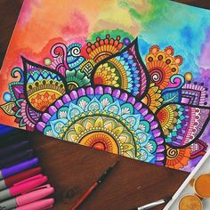 Mandala Doodle, Mandala Art Lesson, Mandala Artwork, Mandala Painting, Mandala Drawing, Watercolor Mandala, Doodle Art Drawing, Art Drawings, Dibujos Zentangle Art