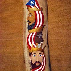 Reyes magos, pintado en acrílico sobre bambú