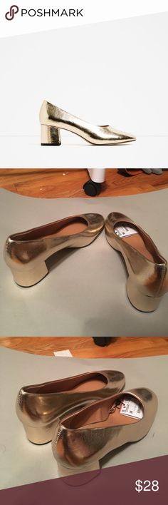 brand new mid heel laminated shoes Gold color. The heel is really cool. Wear it with black suit and black pant. Fashion and chic. Zara Shoes