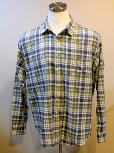 $39.99 J Crew Casual Shirt Tailored Fit XXL Blue Plaid L s Button Front | eBay