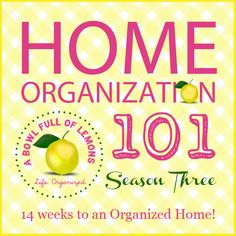 """Home Organization 101 - Week #1 - The Kitchen - clean out & organize all cabinets & drawers, purge unused or expired items, clean out & organize fridge & freezer, clean cabinets & countertops, clean appliances, declutter refridgerator door.  Has great tips & photo inspirations to clean, organize & create """"stations"""" within the kitchen (tea or coffee station, etc). - from A Bowl Full of Lemons"""
