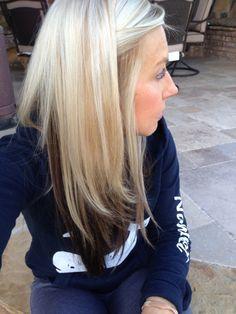 Beautiful reverse ombré blonde hair