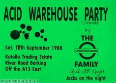 Acid Warehouse Party by The Underground Family 1988 rave flyer uploaded to #phatmedia #raveflyers