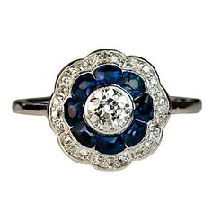 Antique Sapphire and Diamond Engagement Ring c. 1910