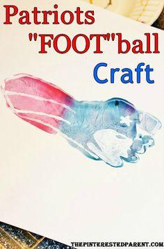 Patriots Football Toddler footprint craft. New England Patriots fan #Nfl #New England Patriots Pats