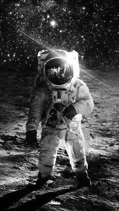 ASTRONAUT SPACE ART MOON DARK BW WALLPAPER HD IPHONE