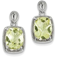 Sterling Silver Rhodium-plated Cushion Lemon Quartz Earrings QE9846LQ (€63) ❤ liked on Polyvore featuring jewelry, earrings, dangle earrings, rhodium plated jewelry, lemon quartz earrings, earring jewelry and sterling silver dangle earrings