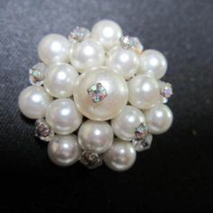 Wired AB Crystals on Pearl (faux) Pin/Brooch http://www.rubylane.com/item/882935-RL-1623/Wired-AB-Crystals-Pearl-faux78-Pin
