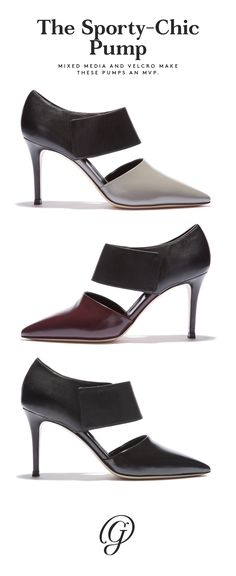 Polished leather in front and smooth nappa at the back separated by a sexy middle cut out. A concealed Velcro detail keeps the look sleek and sophisticated (and incredibly easy to slip on and off). Wear them with a dress or ankle denim to show off the mixed media design.