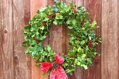 Fresh holly wreath tutorial with pictures.