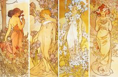 VINTAGE BLOG: Alfons Mucha : The 4 Flowers (Carnation, Iris, Lily and Rose)