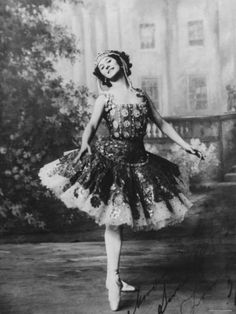 Portrait of Russian Ballet Dancer Anna Pavlova Striking Pose on Stage at the Imperial Palace