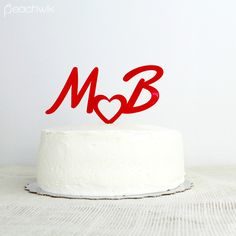 Personalized Wedding Cake Topper | Initials & Hearts | Peachwik