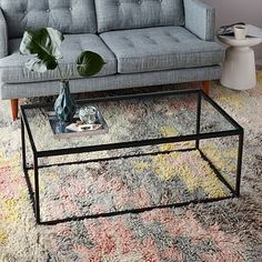 Box Frame Coffee Table - Glass. Bronze finish.  Need lightweight glass to counter the heavy sofa. Would look fine with either of the West Elm lamps.  $239 on sale, $30 delivery surcharge