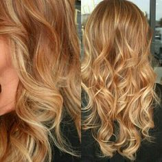Warm dark blonde with strawberry and light blonde highlights