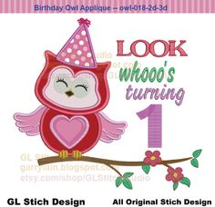 Machine Embroidery Applique Design, Owl applique, First Birthday Owl, Sweet Owl, digital 0-9 birthday option, owl-018-2d-3d