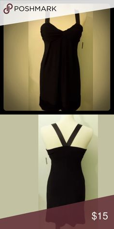 MAKE AN OFFER‼️Bisou Bisou Cocktail Dress Size 14 Women's little black dress size 14 by Bisou Bisou, criss cross  strap in back, comfortable material with some stretch. Excellent Condition. Bisou Bisou Dresses