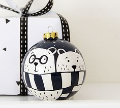Navy Bauble Christmas Ceramic Bauble