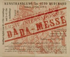 John Heartfield, Cover of the exhibition catalogue of First International Dada Fair (Erste Internationale Dada-Messe), John Heartfield and Wieland Herzfelde editors, Otto Burchard and Malik-Verlag, July 1920.